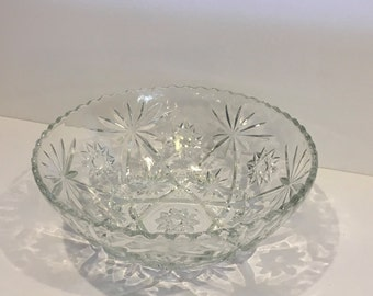 Vintage Star of David Bowl, Anchor Hocking , Prescut , Glass Bowl, Clear Glass Dish , Bowl , Serving Bowl , Vegetable Bowl , Large, 10