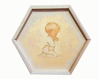 """Baby Vintage Keepsake """"Praying"""" wood box"""