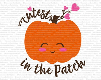 cutest pumpkin in the patch, svg, cut, files, decal, vector, shirt, toddler, baby, infant, jumpsuit, onsie, girl, silhouette, fall, file