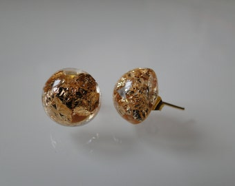 Handmade ear studs with real gold leaf