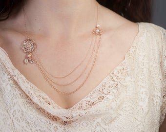 Rose Gold Multi Layered Bridal Necklace, Bridal Multi Strand Necklace, Bridesmaid Layered Necklace, Delicate Bridal Flowers Leaves Necklace
