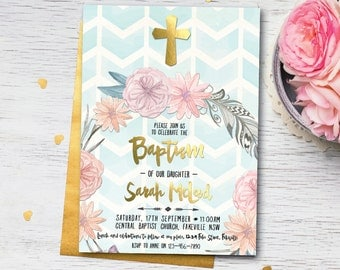 Boho baptism invitation, baptism invitation, boho christening invitation, christening invitation, dedication, dedication ceremony (Sarah)