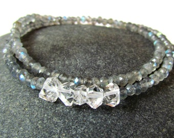 Labradorite & Herkimer Diamond Wrap Gemstone Bracelet Stacking Bracelet Boho Chic faceted labradorite, herkimer diamond crystal Bracelet