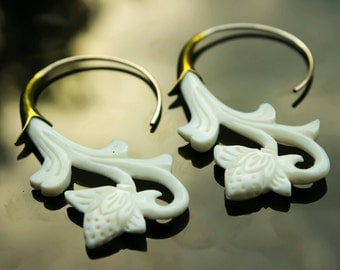 Hand carved bone flowing flower hoops made from 925 silver and brass, gypsy, tribal hoops