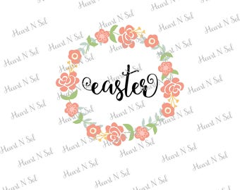 Easter, Easter Floral Frame, Monogram frame, Floral frame, SVG, EPS, DXF, Digital file, Instant Download, Silhouette, Cricut