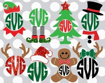 Christmas svg bundle, monogram svg set, Christmas monogram svg, Monogram svg files, Christmas svgs, Santa ,EPs, dxf, cut file,