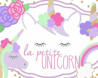 La Petite Unicorn Clip Art Collection, Unicorn clipart, unicorn for planner stickers, printable, wall art, invitations, party decor, vector