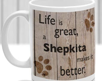 Shepkita Mug, Shepkita gift, dog breed mug, ideal present for dog lover