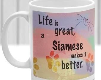 Siamese cat mug, Siamese cat gift, ideal present for cat lover