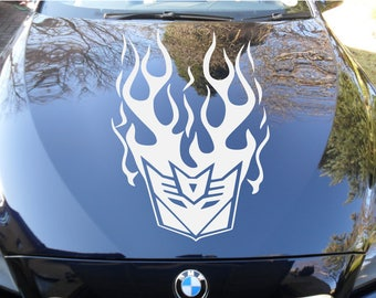 Flaming tribal car bonnet/hood vinyl decal in any colour on high quality car vinyl