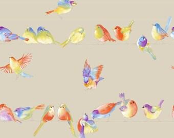 Happy Birds - background linen - 140 or 280cm width