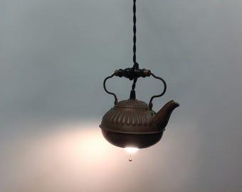 Antique, vintage, copper tea kettle, made into a pendant light