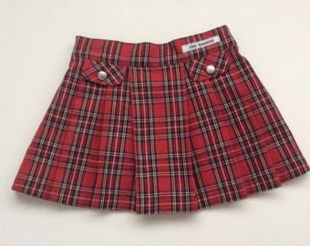 Girls Tartan Skirt, Schoolgirl Skirt, Girls Punk Skirt, Girls Plaid Skirt, Girls Pleated Skirt, Mod Skirt, Red Tartan Skirt, READY TO SHIP