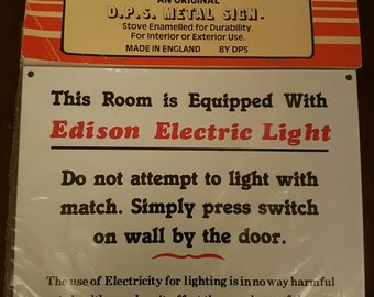 Vintage Electric Light Tin Wall Sign Plaque Home Decor Wall Plaque
