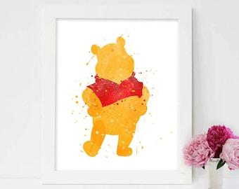 winnie the pooh, winnie the pooh wall art,winnie the pooh watercolor,winnie the pooh nursery, winnie the pooh art, winnie the pooh birthday
