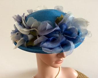 Vintage 50s Ladies Hat Blue Straw Broad Brim Silk & Glass Roses Unique 1950s Phyllis Design