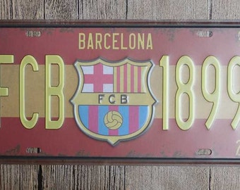 FC BARCELONA Vintage License Plate