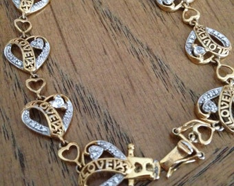 Sterling Silver and Gold Hearts Bracelet