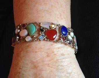 Sterling Confetti Stone Bracelet