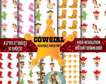 Cowgirl Paper, Cowgirl, Cowgirl Boots, Cowgirl Hat, Cowgirl Birthday, Cowgirl Party, Cowgirl Invitation, Scrapbook Paper, Instant Download