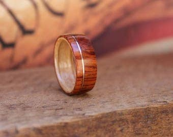 Wooden Ring Burmese Rosewood offset copper - Men's Wooden Ring Wood Anniversary Gifts for Men Engagement Ring for Men Bentwood Ring
