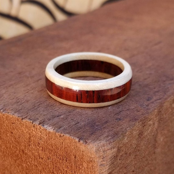 Cocobolo and Holly Wood Ring - Men Wood Ring Wood Wedding Band Woman Anniversary Engagement Ring