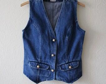 Blue Denim Vest Vintage Denim Vest Fitted Jeans Vest Denim Waistcoat Golden Buttons Women's Jeans Vest Medium Size