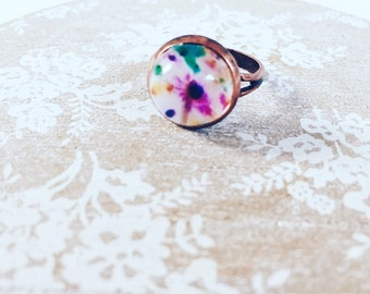 Floral frenzy vintage copper plated ring