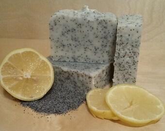 Handmade Lemon Poppy Seed Organic Soap - Vegan - With Essential Oils