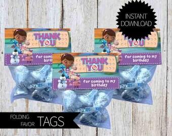 Doc McStuffins Birthday Party PRINTABLE Folding Treat Bag Tags- Instant Download | Disney Junior | Doctor McStuffins |Treat Bag Topper