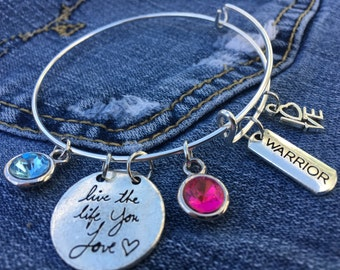 Love Warrior - Adjustable Silver Bangle Charm Bracelet, Birthstone, Live the Life you Love, LOVE, Gemstone, Gift for Her, Birthday Gift