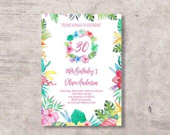 Tropical Birthday Invitation Printable, aloha hawaiian tropical floral birthday invite, editable pdf instant download, summer hawaii