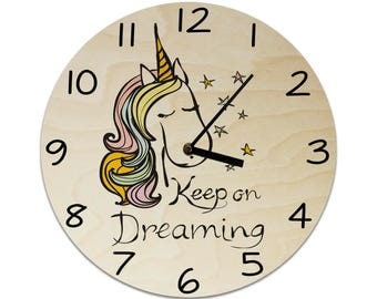 Unicorn Keep on Dreaming Quote Childrens Clock / Kids Clock