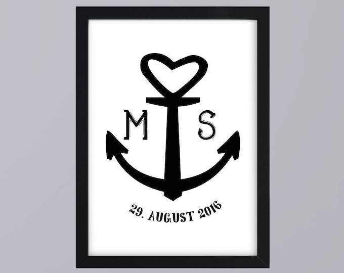 Wedding gift anchor family art print, fine art print