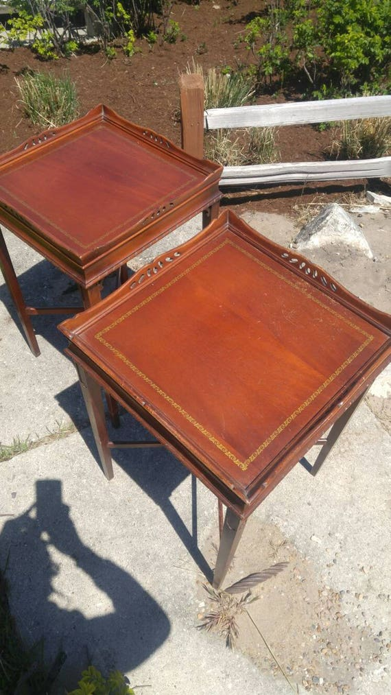 Antique Amergold Hand Tooled Shelf Tables By American Furniture Novelty Co.  Chicago, Illinois