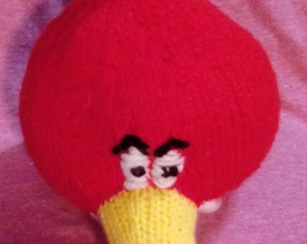 Hand knitted red angry birds