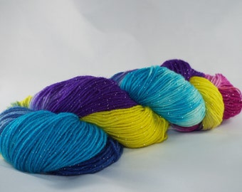 hand-colored glitter socks wool, handdyed yarn, Sockyarn, MICA