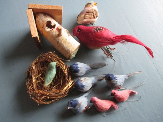 Vintage birds craft birds feathered felted flocked wired for Feathered birds for crafts