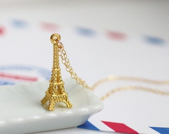 gold eiffel tower necklace, la tour eiffel necklace, gold paris necklace, gold french necklace, gold france necklace, gold pendant necklace