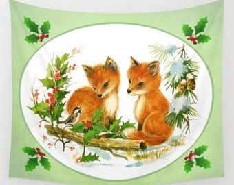 Fox Wall Hanging, Vintage Christmas Scene, Seasonal Wall Art, Fox Cub, Fox Kit, Christmas Fox, Vintage Fox, Fox Wall Decor, Cute Xmas Decor