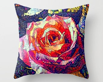 Rose Pillowcase, Flower Pillowcase, Pink Pillowcase, Throw Pillow, Pillow Cover, Rose Pillow, Flower Pillow, Abstract Rose, Pillow Case, Red