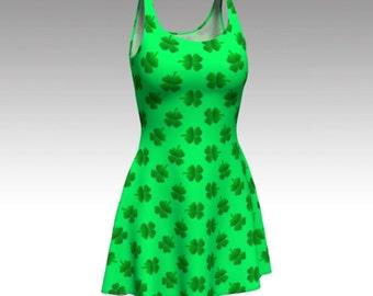 Shamrock Dress, Green Dress, St Patricks Day, St Paddys Day, Flare Dress, Skater Dress, Fit and Flare Dress, Fitted Dress, Bodycon Dress