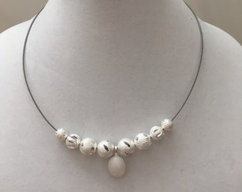 Silver Bead and Cable Necklace