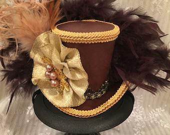 Mini top hat, Kentucky Derby Hat, Steampunk hat, Alice in Wonderland, Mad Hatter Hat, Tea Party, Brown Hat, Leather top hat