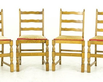 B676 Antique Scottish Beechwood Ladder Back Kitchen Chairs with Lift Out Seats