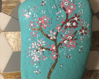 Handpainted River Rock Cherry Blossoms