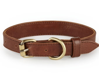Santa Barbara Italian Leather Dog Collar