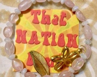 USA FREE Shipping!! That NATION Band Flower Power- Rose Quartz and Rainbow Moonstone Bracelet