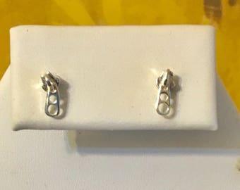 Sterling Silver Zipper Pull Earrings