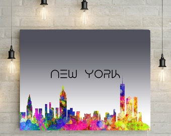 Custom Skyline Print, Any City, Splattered Paint Effect, New York, Paris, London - Canvas or Printable